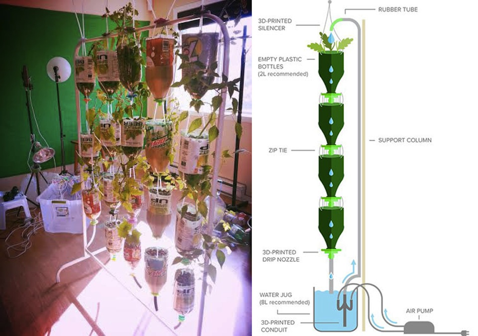 3Dponics hydroponics system for space farming
